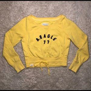 American Eagle size medium yellow crop hoodie